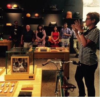 CMO of Shinola Bridget Russo on the right speaking to entrepreneurs who gathered at Shinola�s store in Midtown.
