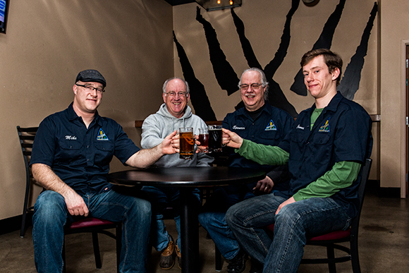 L to R Mike Eriksen, Jeff Renner, Spencer Thomas and James Powers of the Ann Arbor Brewers Guild at Wolverine State Brewing Co