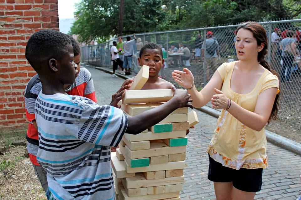 A big game of Jenga at Five Points Alley in Cincy