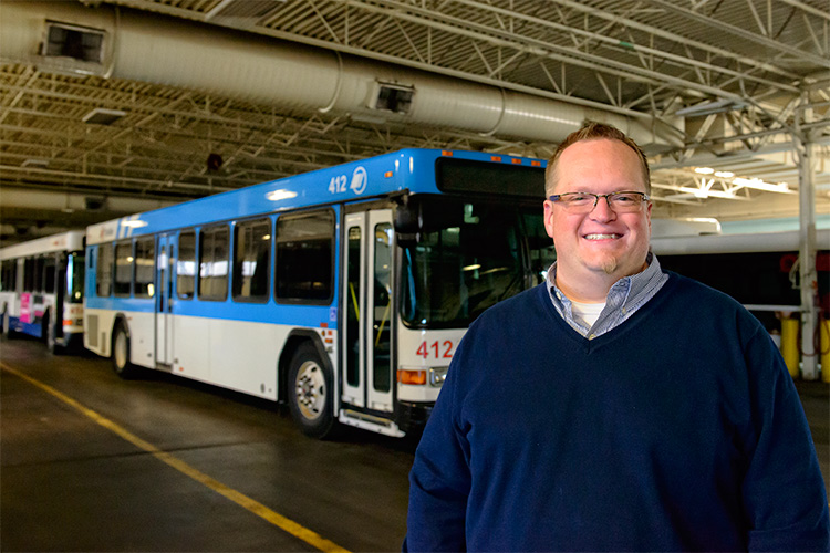 Don Kline with one of the AAATA's new buses