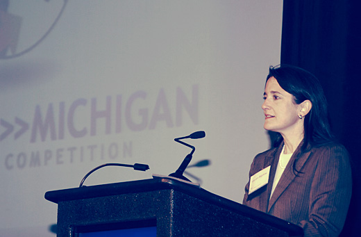 Lauren Bigelow at the Accelerate Michigan Innovation Competition