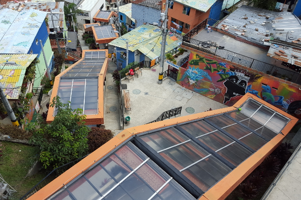 Escalators in Medellin's Comuna no 13 San Javier neighborhood