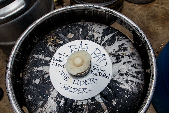 A keg of Belgian Rye Dubbel made with the Rat Pad at ABC Microbrewery