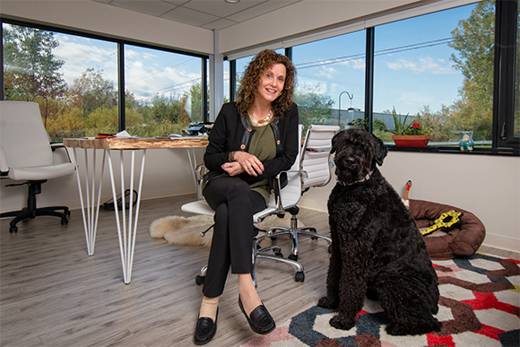 Sassa Akervall with her dog Stella at Akervall Technologies