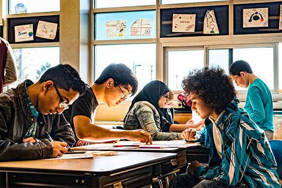Students at Washtenaw International High School in Ypsilanti