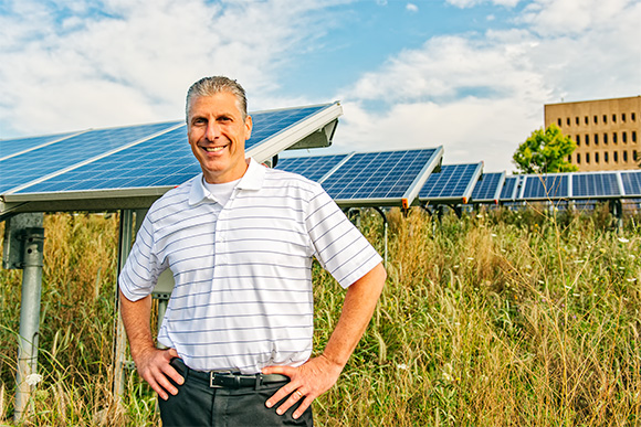 Andrew Berki at one of North Campus' Solar Power locations
